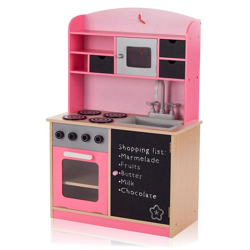 Baby Vivo Kinderküche Spielküche aus Holz mit Tafel - Mila in Rosa ...